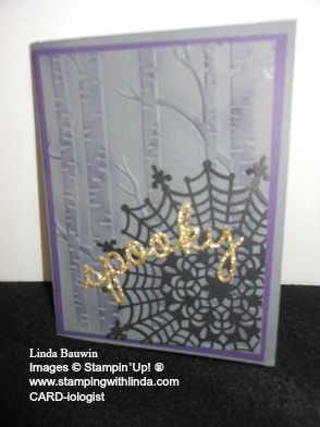 Spider Web Doilies and Woodland Embossing Folder Linda Bauwin