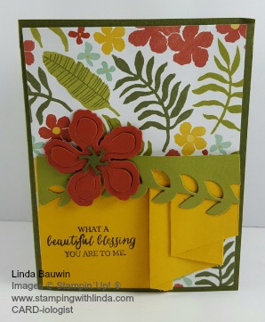 Pleated card botanical blossoms Linda Bauwin