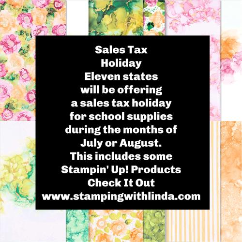 #salestaxholiday  #stampinup  #lindabauwin
